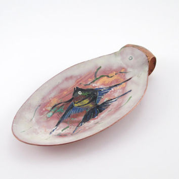 Vintage COPPER TRINKET DISH, Hand Painted, Krelage Holland, Beautiful Sea and Fish Design, Key Holder, Change Dish, Ring Keeper, Copper Bowl