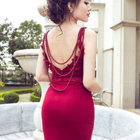 International Shipping An Min Women's Party Evening Bodycon Long Backless  Sleeveless Cocktail Formal Prom Wedding Lace Floral Red Dress