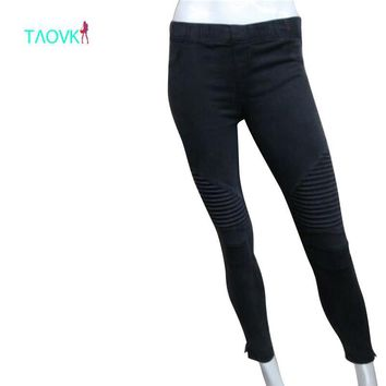 TAOVK 2016  Women ZIPPER JEGGING Moto Jeans Jeggings Pants Moto Pants Style Quality Stretch Tight pencil pants
