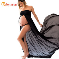 Babyinstar Maternity Strapless Chiffon Dress Maternity Photography Props Pregnancy Photo Shoot Split Pregnant Full-Length Dress