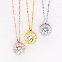 Stainless Steel Multi-Color Zircon Roman Numeral Dainty Pendant Necklace