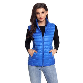 Royal Blue Quilted Cotton Down Vest