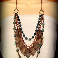 Big and Bold Chains, Leaves and Blue Sky Jasper  in Antique Copper