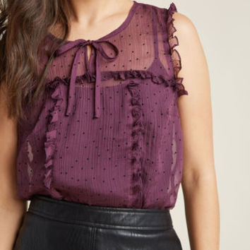 Sleeveless Ruffled Chiffon Top in Plum
