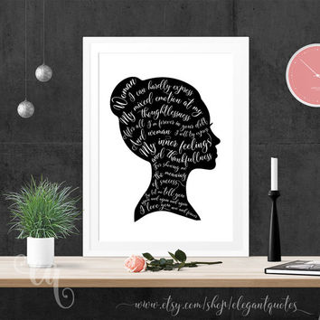 "Wall art decor, giclée print, typography poster John Lennon lyrics from the song ""Woman"", shaped in woman head silhouette"