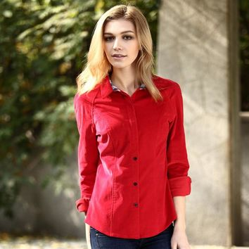 Veri Gude Spring and Autumn Women's Shirt British Style Slim Fit Corduroy Shirt Long Sleeve corduroy Women's Shirt High quality