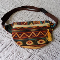 Red and Gold Aztec Fanny Pack with Gold Tassle- Free Shipping to Continental US
