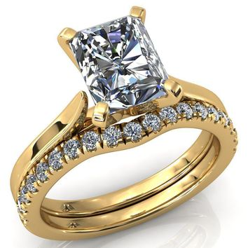 Darci Radiant Moissanite 4 Prong Cathedral Solitaire Engagement Ring