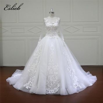 Eslieb Puffy Ball Gown Tulle Wedding Dresses 2018 Bridal Gown 3D Flower Pearls Ruffle Bride Dress Romantic robe de mariage