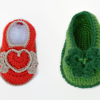 Set of 2 patterns for baby booties: First Valentines, First St Patrick day, Valentine crochet, St Patrick crochet, Crochet baby shoes,
