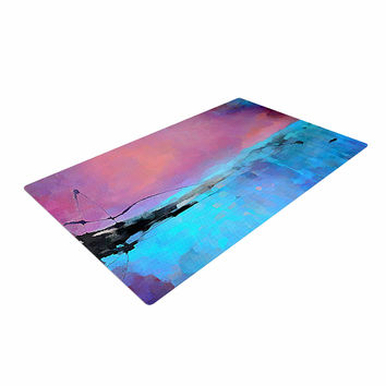 "Oriana Cordero ""Versailles-Abstract"" Pink Blue Woven Area Rug"