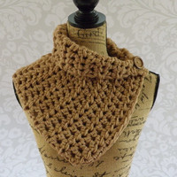 Ready To Ship Scarf Crochet Knit Toasted Almond Light Brown Button Cowl Women's Accessories Eternity Fall Winter
