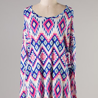 Tribal Print Piko Style Top In Blue/Pink