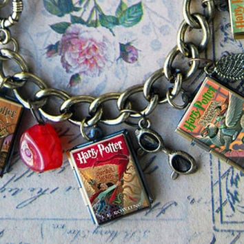 Harry Potter series - mini book lockets and charm bracelet