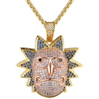 Iced Out Rick Face Cartoon Character Gold Finish Pendant