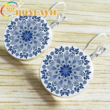 Hot Sale Blue White Porcelain Time Crystal Chinese Style Earrings Ear Nail Vintage Woman Jewelry Earring Dropshopping