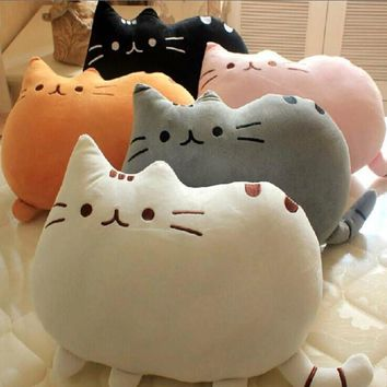 VILEAD Cute Soft Biscuit Cat Cushion Lovely Fat Cookie Cat Plush Toy Home Car Throw Pillow Creative Seat Decoration Girl's Gift