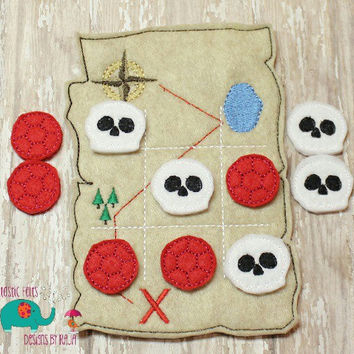 Pirate map tic tac toe game embroidered, board game activity travel game quiet game busy bag felt board play set skull gem treasure chest