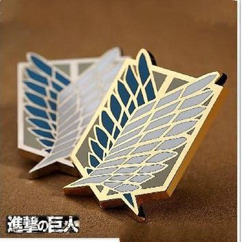 Attack on Titan Badge Anime Peripheral Pins Scout Regiment Logo Brooch Survey Corps Erwin Smith Cosplay Costume Accessories
