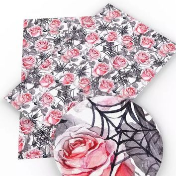 Pink roses & spiderwebs Halloween faux leather fabric sheet