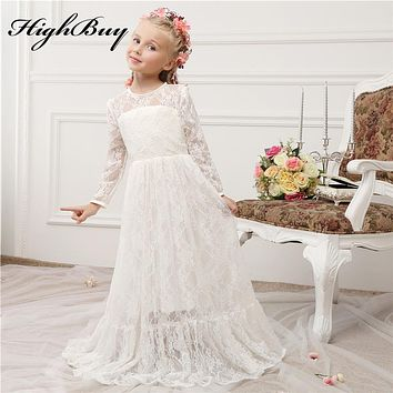 1ae6e2d8ef6f HighBuy 2017 Vintage Princess Lace Flower Girl Dresses Sheer Jew