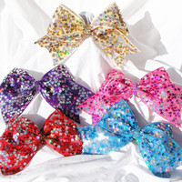 Cheer bow- reversible sequin in Teal blue, purple, pink, gold or red bow.- cheerleading bow-cheerbow-cheerleader bow-softball bow- dance bow