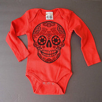 Fall Baby Clothing Sugar Skull bodysuit Boy Girl Halloween long sleeve Day of the Dead baby grows shirt Punk Rockabilly hipster 3 6 12 month
