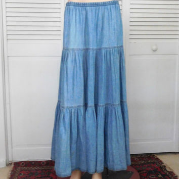 Maxi Skirt Jean Skirt Broomstick Layered Size 14 Denim Skirt Hippie Clothes Boho Skirt Bohemian Clothes Vintage Clothing Indie Clothes