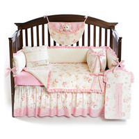 Shabby Chic Pink 5pc BABY GIRL Crib Bedding Set - Custom Made