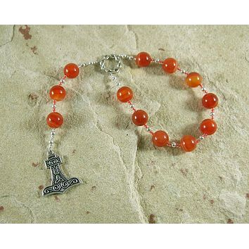 Thor Pocket Prayer Beads in Carnelian: Norse God of Thunder, Protector of Humanity