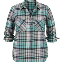 Plus Size - Plaid Button Back Shirt - Wintergreen