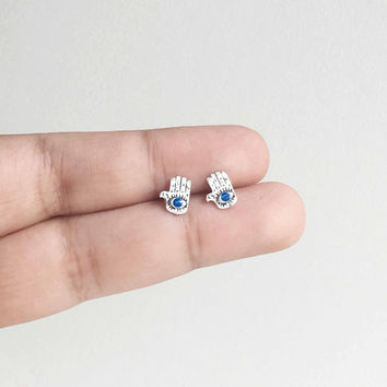Silver Hamsa Stud earrings, Evil eye ear studs, Hand of Fatima jewelry, hamsa hand, Boho Stud Earrings, evil eye studs, hamsa and evil eye