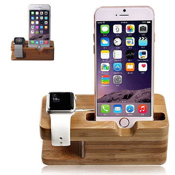 Creative Wooden Dual Charging Cradle for iWatch and iPhone
