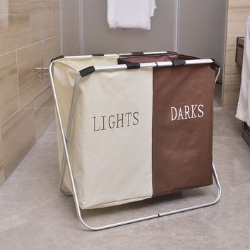 Oxford Cloth Folding Double Lattice Dirty Clothes Storage Laundry Basket White & Brown