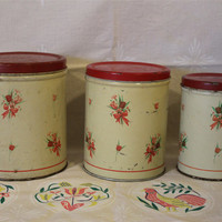 Metal Canisters & Bread Box