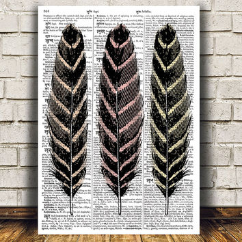 Feathers poster Dictionary art Vintage print Antique print RTA1120