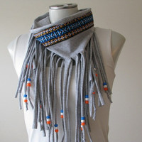 Gray Tribal Fringe Jersey Scarf Native trim by FeathersandFancy