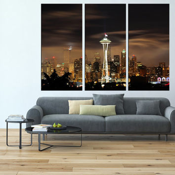 Seattle skyline Canvas art Print wall art, extra large wall art, canvas art for large wall, Seattle art print wall decor t120