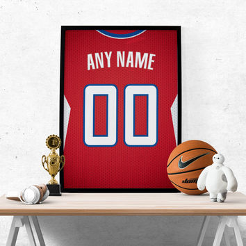 Los Angeles Clippers Jersey Poster - Print Personalized Select ANY Name & ANY Number