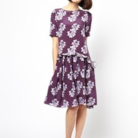 House Of Holland Silk Ruffle T-Shirt Dress