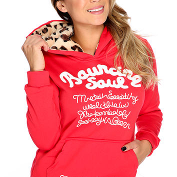 Red Graphic Design Leopard Hoodie Cute Fall Sweater