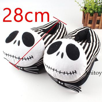 The Nightmare Before Christmas Jack Skellington Plush Toy Dolls Home House Winter Plush Slippers for Women Men Stuffed Toys 28cm