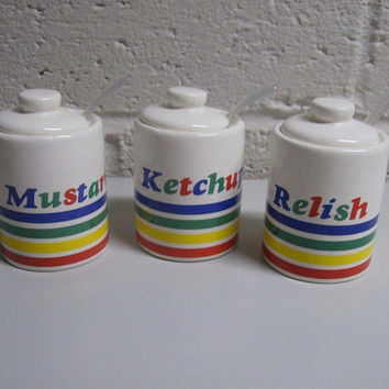 Vintage 70s Condiment Set Ketchup Mustard Relish Rainbow Stripes Picnic Retro