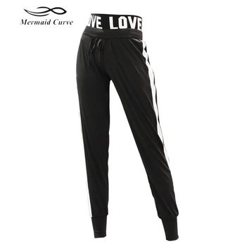Mermaid Curve Women's Sweatpants Female LOVE elastic band Jogger Pant Trousers Quick Dry Sports fitness gym Loose full Pants