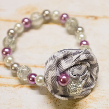 Infant Rosette Bracelet, Baby Glass Bead Pearl Beads w Fabric Flower,Newborn Girl, photo prop, baby shower gift, pink, gray, white