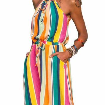 Multicolor Striped Tank Tunic Dress