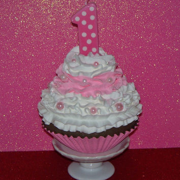 Jumbo Fake Cupcake Girls First 1st Birthday Photo Prop , Number 1 One Candle, Picture Props, First Birthday Party Decor, Keepsake