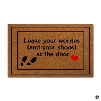 Autumn Fall welcome door mat doormat  Entrance Floor Mat Funny  Leave Your Worries (And Your Shoes) At The Door  AT_76_7