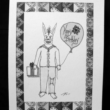 Alternative / Folk - Birthday Dark Humor - Greeting Card w / envelope - Recycled Paper - IntricateKnot