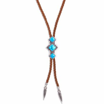 Shero Bolo Necklace   Silver / Turquoise